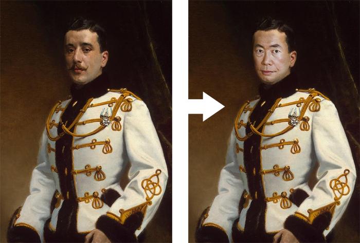 intégrer visage peinture photoshop