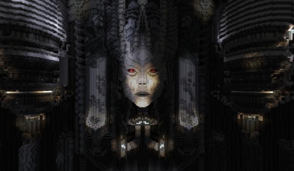 un vaisseau alien recrée dans minecraft
