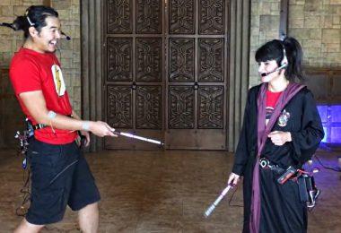 deux sorciers s'affronte a coup de baguette sous rasberry pie