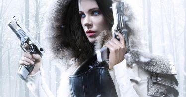 vampire bad ass dans la neige avec 2 guns
