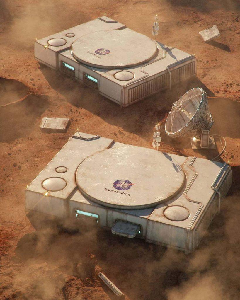 une ^playstation en design d'un bâtiment sur mars
