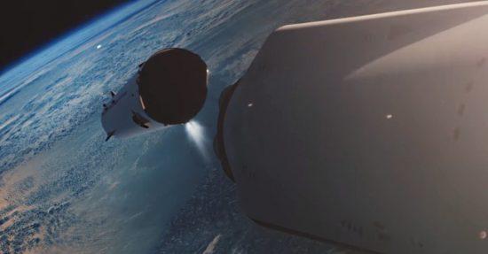 séparation du lanceur de la fusée spaceX