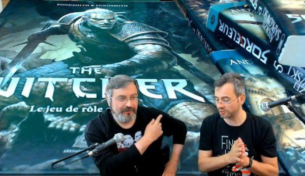 Merlin et fletch font la présentation du jeu de rôle the witcher