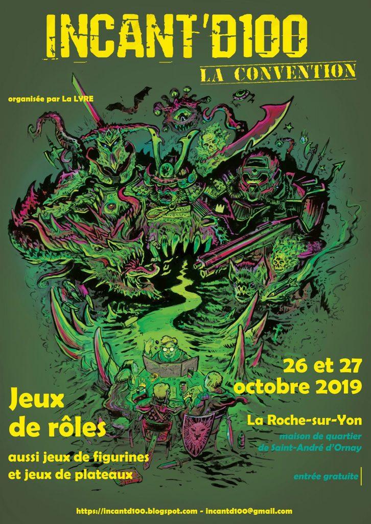 affiche de la convention de jeu de rôles en vert